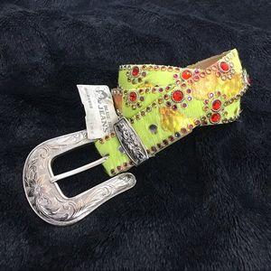 Kippys green & orange Swarovski furry belt size 32